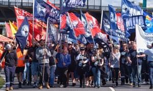 Union demonstrators gather at Webb Dock in Melbourne, Australia, 8 December 2017.