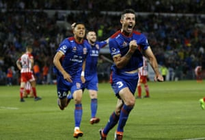 Jason Hoffman of the Jets celebrates scoring a second half goal during the A-League Semi Final match between the Newcastle Jets and Melbourne City.