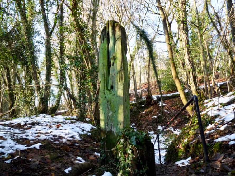 A weathered post above a railway cutting on a snowy day
