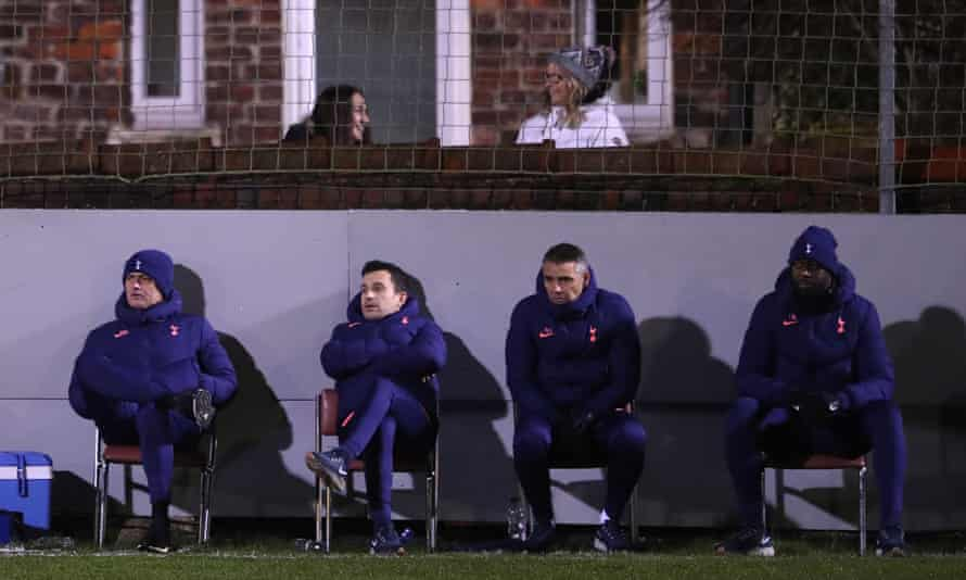 José Mourinho and his coaching staff watch on during Spurs' FA Cup win at eighth-tier Marine AFC