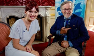 Lindsey Russell and Steven Spielberg