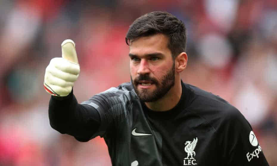 Liverpool's Alisson, in action here in the friendly against Athletic Bilbao, says seeing his family in Brazil was 'a relief for my soul and my mind'.