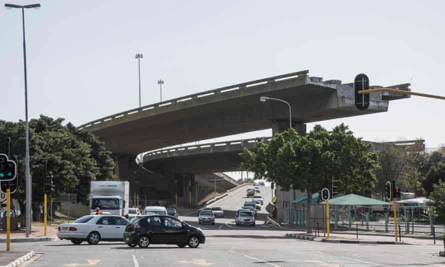 A uncompleted flyover bridge lies in downtown Cape Town