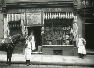 Frost's Pork Butcher's Shop. Derby Thomas Frost's Pork Butcher's shop, no.49 Sadler Gate. c.1900