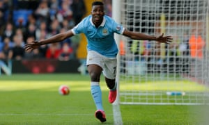 Kelechi Iheanacho celebrates scoring the winner for Manchester City.