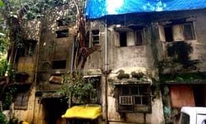 The back of Vithal Kutir building in western Mumbai, which has been declared 'extremely dangerous' by the BMC