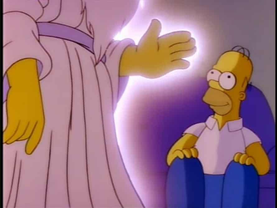 God visits Homer in a dream to tell him it's cool with him if Homer stays home from church to watch football