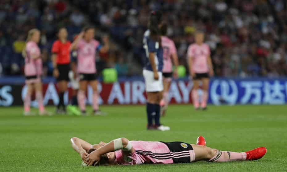 Erin Cuthbert reacts at the final whistle after Scotland lost a three-goal lead to exit the Women's World Cup.