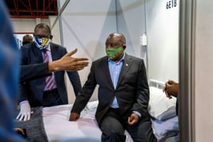 South African President Cyril Ramaphosa visits the Covid-19 treatment facilities at the NASREC Expo Centre in Johannesburg, South Africa on 24 April, 2020.