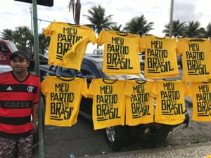 "Alessandra da Silva sells T-shirts with the slogan: ""My party is Brazil"" (Meu Partido é o Brasil)."