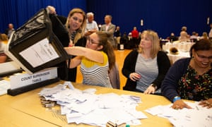female local election tellers counting votes in a sports hall
