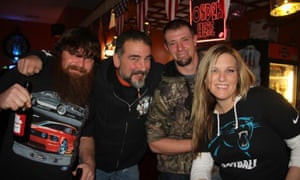 Hank (far left), Bill (center left) and friends at the Chop Shop Pub.