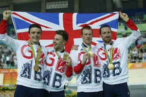 Great Britain's Steven Burke, Owain Doull, Ed Clancy and Sir Bradley Wiggins pose on the podium after winning the men's Team Pursuit finals track cycling at Rio 2016