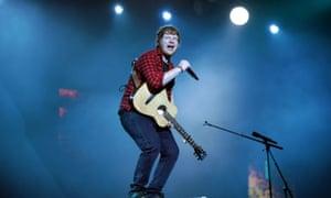 Ed Sheeran on stage at Glastonbury, 2017.