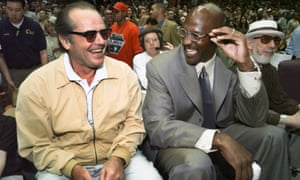 Michael Jordan and Jack Nicholson sit courtside at the Lakers in 1999.