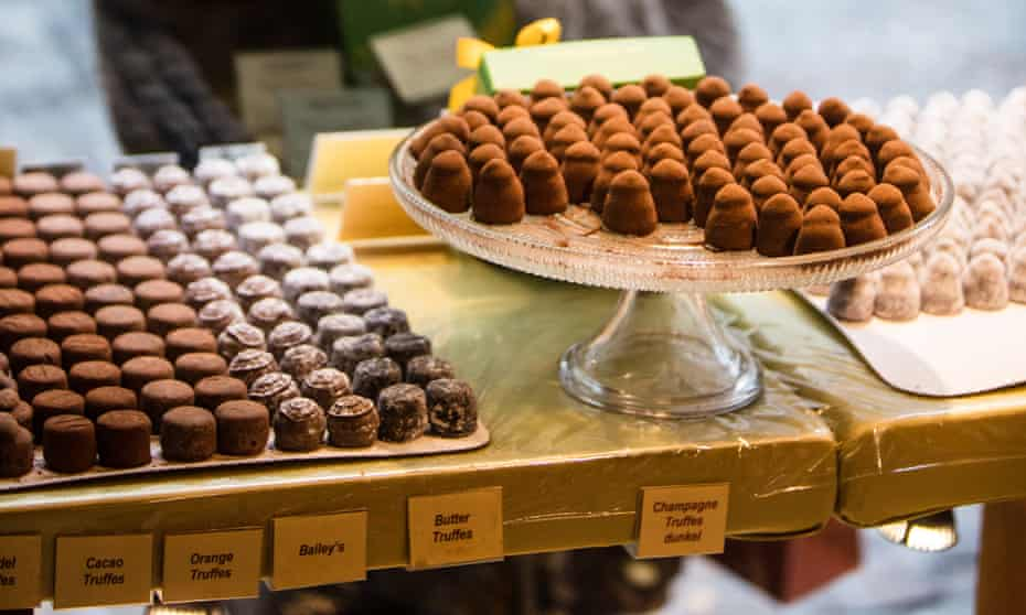 Window dressing: trays of chocolate on show at Confiserie Teuscher.