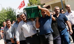 The funeral of Ahmet Toraman, who was killed in the bomb attack in Gaziantep, south-east Turkey.