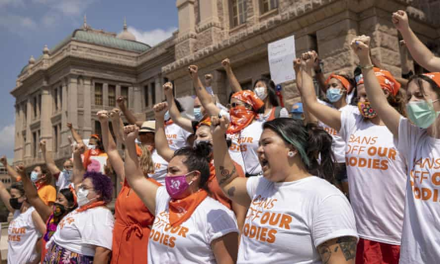 People protest against the Texas abortion ban at the state capitol in Austin on 1 September.