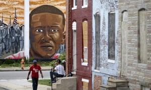 A mural depicting Freddie Gray in Baltimore.