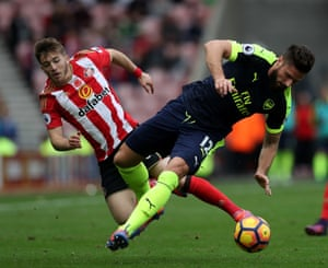 Lynden Gooch tangles with Arsenal's Olivier Giroud during their Premier League game last month