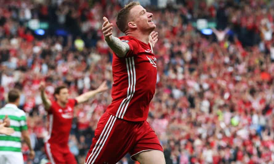 Jonny Hayes scores for Aberdeen against Celtic in the Scottish Cup final last season.