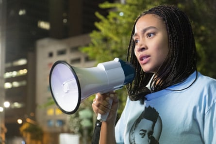 Amandla Stenberg as Starr in the film adaptation of The Hate U Give.