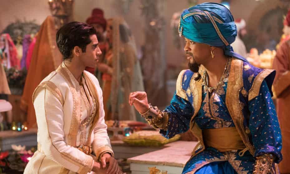 Mena Massoud and Will Smith in Aladdin.