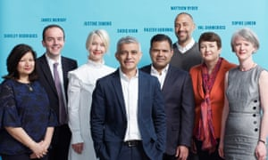 The Mayoral team photographed at City Hall, London, left to right:  Shirley Rodrigues, James Murray, Justine Simons, Mayor Sadiq Khan, Rajesh Agrawal, Matthew Ryder, Val Shawcross, Sophie Linden