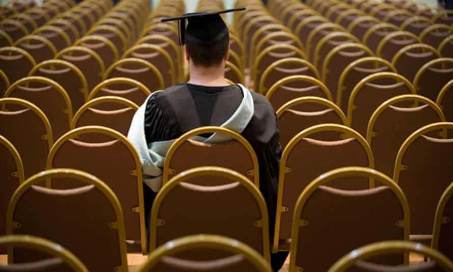 A university graduate waits for his ceremony to begin