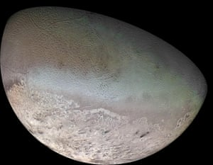 A global colour mosaic of Triton, taken in 1989 by Voyager 2 during its flyby of the Neptune system