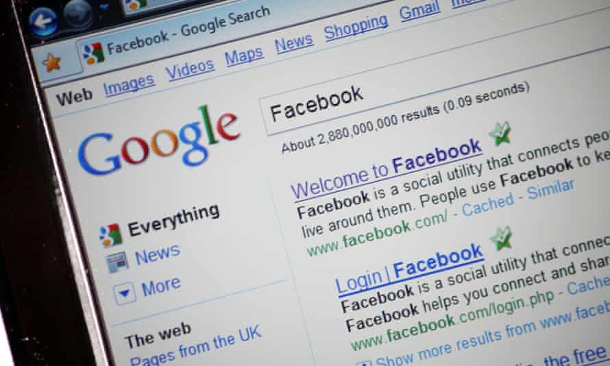Facebook search on Google