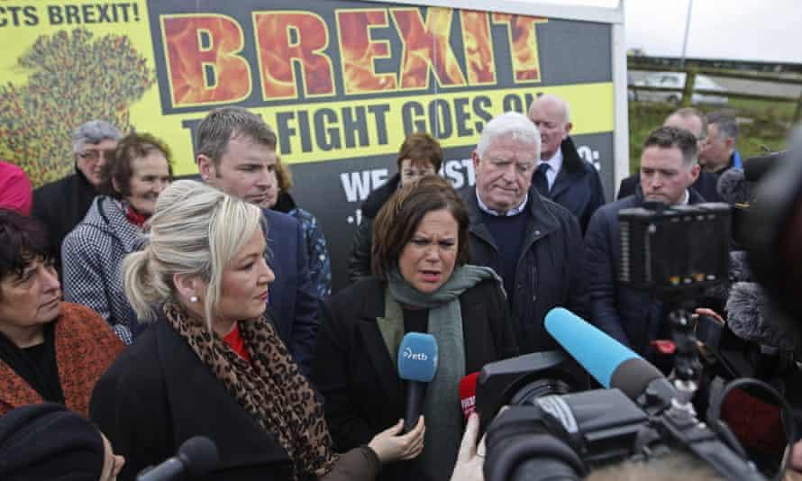 Sinn Féin leader Mary Lou McDonald on the campaign trail in Carrickcarnon, Ireland, on 31 January.