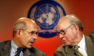 Mohamed ElBaradei and Hans Blix at the UN headquarters in Baghdad, February 2003
