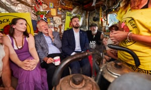 Labour Party leader Jeremy Corbyn visiting the anti-fracking protest camp outside Cuadrilla's Preston New Road site.