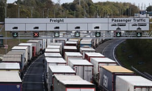 Lorries queue at entrance to the Channel tunnel in Folkestone