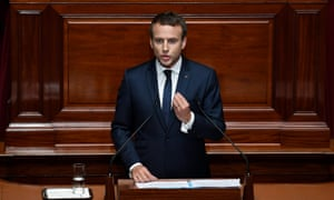 French President Macron addresses the special congress