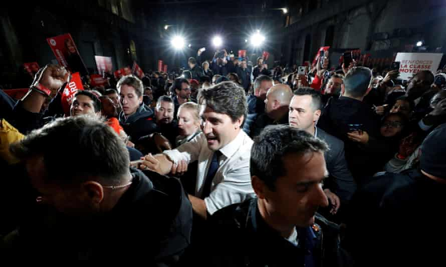 The Liberal leader and Canadian prime minister, Justin Trudeau, takes part in a rally as he campaigns for the upcoming election, in Montreal, Quebec, last week.