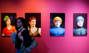 Budapest, HungaryA visitor attends an exhibition entitled 'New mythology' by Russian artist Olga Tobrelutz at the Kunsthalle (Mucsarnok)