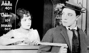 Buster Keaton at a cinema box office, 1924.