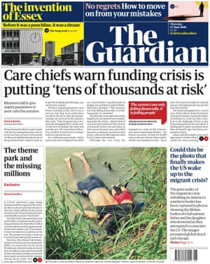 Guardian front page, Thursday 27 June 2019