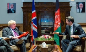 Boris Johnson, the foreign secretary (left, and Hekmat Khalil Karzai, the deputy foreign minister of Afghanistan, during a meeting in Kabul, Afghanistan today.
