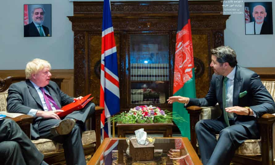 Boris Johnson with and Afghanistan's deputy foreign minister Hekmat Khalil Karzai