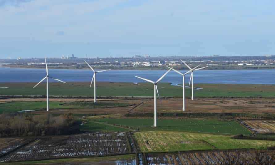 Frodsham Wind Farm in Helsby, England.