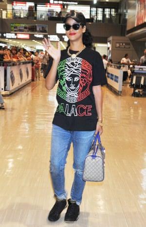 Rihanna in Palace's Versace-like Medusa T-shirt in 2012
