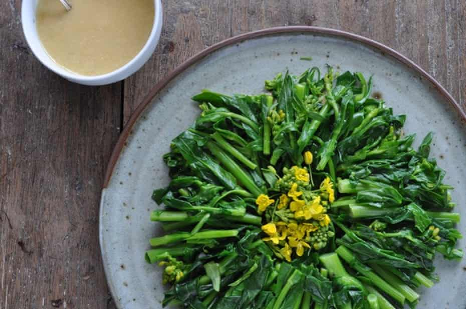 Rape blossoms with miso mustard dressing