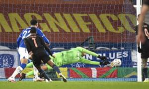 Everton's goalkeeper Joao Virginia saves an effort from Manchester City's Raheem Sterling.