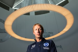 Graham Potter, pictured in the reception of Brighton's training ground