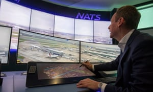 Members of Nats staff test technology unveiled at Heathrow to boost landing capacity during low visibility.