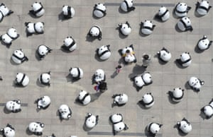 Taiyuan, China - 280 panda sculptures are displayed in front of a shopping centre promoting environmental protection