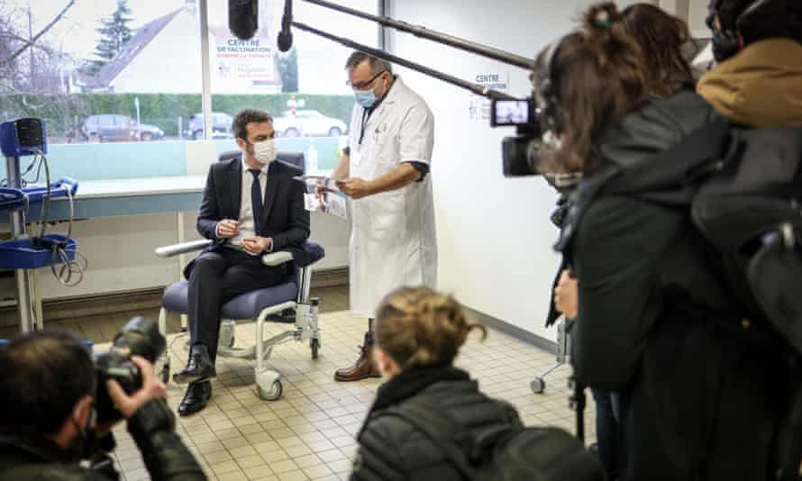 Olivier Veran, France's minister of solidarity and health, is vaccinated against Covid at Melun hospital, France.